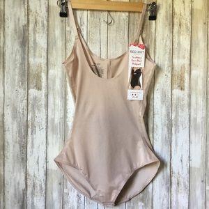 SPANX Bodysuit Open Bust Scalloped Medium Nude